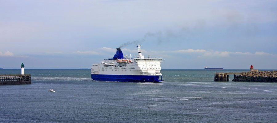 Ferry sailing into France